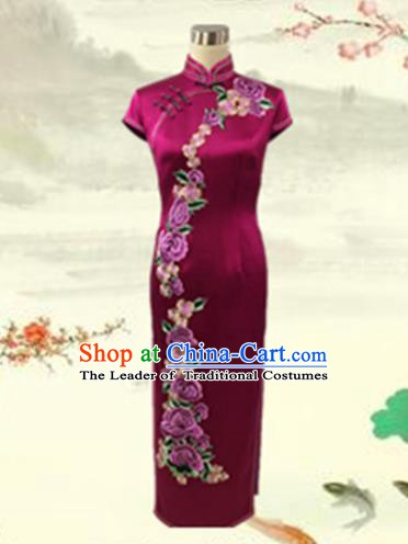 Traditional Chinese National Costume Mandarin Qipao, Tang Suit Chirpaur Embroidered Rosy Silk Cheongsam Clothing for Women