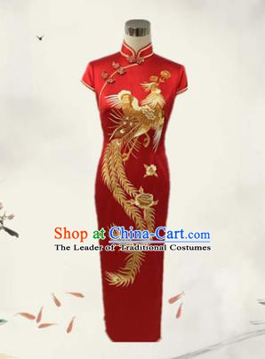 Traditional Chinese National Costume Wedding Mandarin Red Qipao, Tang Suit Embroidered Chirpaur Silk Cheongsam Clothing for Women
