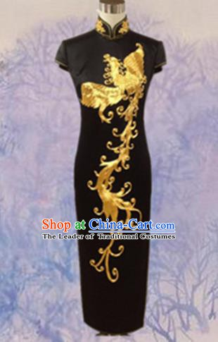 Traditional Chinese National Costume Black Mandarin Qipao, Tang Suit Embroidered Phoenix Chirpaur Silk Cheongsam Clothing for Women