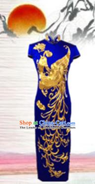 Traditional Chinese National Costume Blue Mandarin Qipao, Tang Suit Embroidered Phoenix Chirpaur Silk Cheongsam Clothing for Women