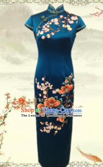 Traditional Chinese National Costume Atrovirens Mandarin Qipao, Tang Suit Embroidered Peony Chirpaur Silk Cheongsam Clothing for Women