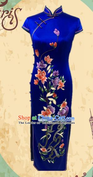 Traditional Chinese National Costume Blue Mandarin Qipao, Tang Suit Embroidered Peony Chirpaur Silk Cheongsam Clothing for Women
