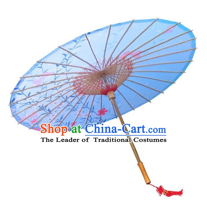 Asian China Dance Umbrella Handmade Classical Printing Oil-paper Umbrellas Stage Performance Blue Umbrella Dance Props