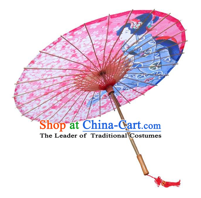 Asian China Dance Umbrella Handmade Classical Printing Oriental Cherry Oil-paper Umbrellas Stage Performance Pink Umbrella