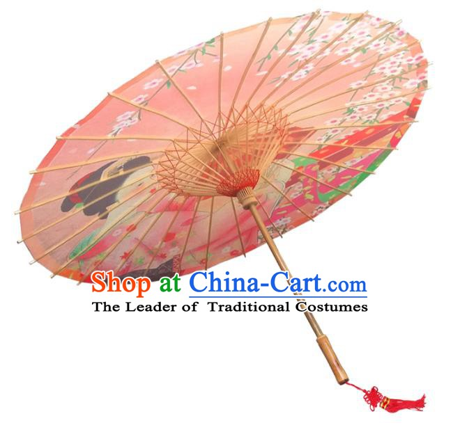 Asian China Dance Umbrella Handmade Classical Printing Oriental Cherry Oil-paper Umbrellas Stage Performance Orange Umbrella