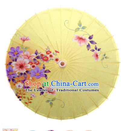 Asian China Dance Umbrella Handmade Classical Printing Flowers Oil-paper Umbrellas Stage Performance Yellow Umbrella