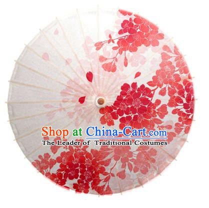 Asian China Dance Umbrella Handmade Classical Printing Oriental Cherry Oil-paper Umbrellas Stage Performance White Umbrella