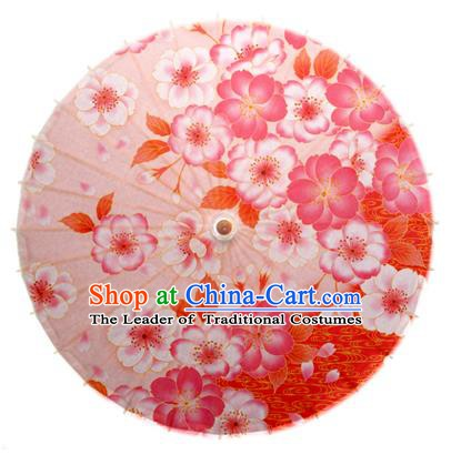 Asian China Dance Umbrella Handmade Classical Printing Flowers Oil-paper Umbrellas Stage Performance Pink Umbrella