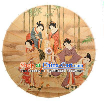 Asian China Dance Umbrella Handmade Classical Printing Oil-paper Umbrellas Stage Performance Umbrella