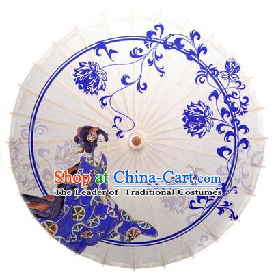 Asian China Dance Umbrella Handmade Classical Printing Chrysanthemum Oil-paper Umbrellas Stage Performance Umbrella
