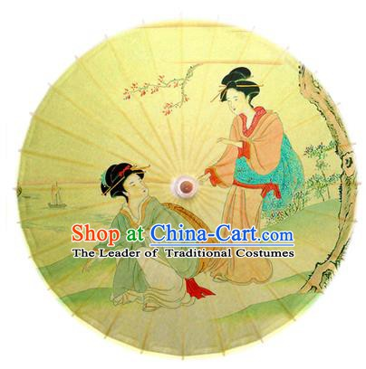 Asian China Dance Umbrella Handmade Classical Printing Yellow Oil-paper Umbrellas Stage Performance Umbrella