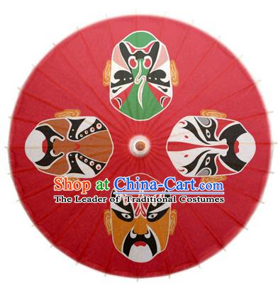 Asian China Dance Umbrella Stage Performance Umbrella Handmade Printing Beijing Opera Facial Makeup Red Oil-paper Umbrellas
