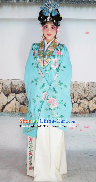 Chinese Beijing Opera Diva Princess Blue Embroidered Costume, China Peking Opera Actress Embroidery Clothing