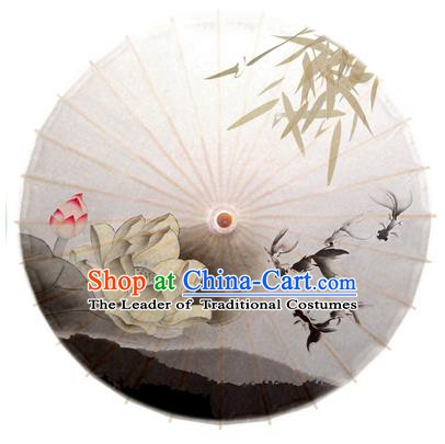 Asian China Dance Umbrella Stage Performance Umbrella Hand Painting Goldfish Lotus Oil-paper Umbrellas