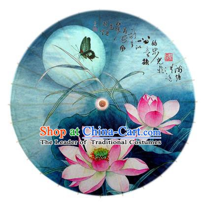 Asian China Dance Umbrella Stage Performance Umbrella Hand Painting Lotus Blue Oil-paper Umbrellas