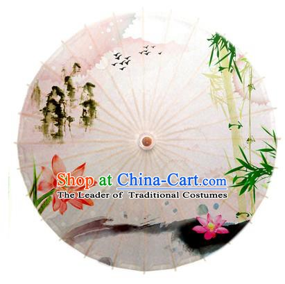 Asian China Dance Umbrella Stage Performance Umbrella Hand Painting Lotus Bamboo Oil-paper Umbrellas