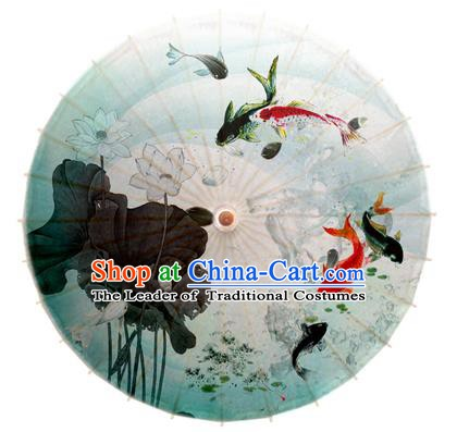 Asian China Dance Umbrella Stage Performance Umbrella Hand Ink Painting Lotus Fishes Oil-paper Umbrellas