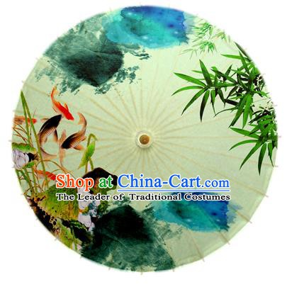 Asian China Dance Umbrella Stage Performance Umbrella Hand Ink Painting Fish Bamboo Green Oil-paper Umbrellas