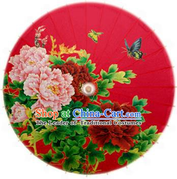 Asian China Dance Handmade Umbrella Stage Performance Wedding Umbrella Printing Peony Red Oil-paper Umbrellas