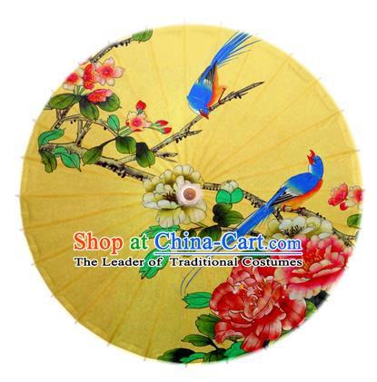 Asian China Dance Handmade Umbrella Stage Performance Umbrella Printing Peony Birds Yellow Oil-paper Umbrellas
