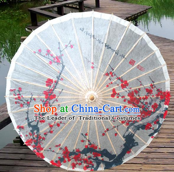 Asian China Dance Umbrella Stage Performance Umbrella Handmade Printing Wintersweet Oil-paper Umbrellas