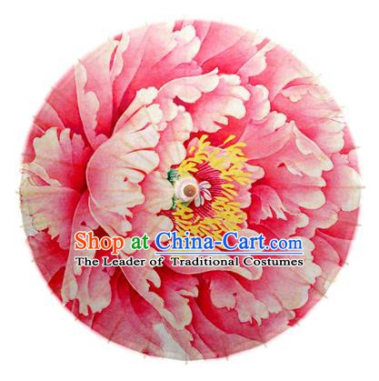Asian China Dance Handmade Umbrella Stage Performance Umbrella Printing Peony Pink Oil-paper Umbrellas