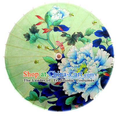 Asian China Dance Handmade Umbrella Stage Performance Umbrella Printing Blue Peony Oil-paper Umbrellas