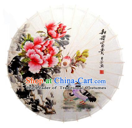Asian China Dance Handmade Umbrella Stage Performance Umbrella Printing Peony Mandarin Duck Oil-paper Umbrellas