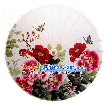 Asian China Dance Handmade Umbrella Stage Performance Umbrella Printing Peony Flowers Oil-paper Umbrellas