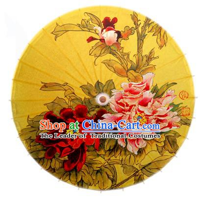 Asian China Dance Handmade Umbrella Stage Performance Umbrella Printing Peony Flowers Yellow Oil-paper Umbrellas