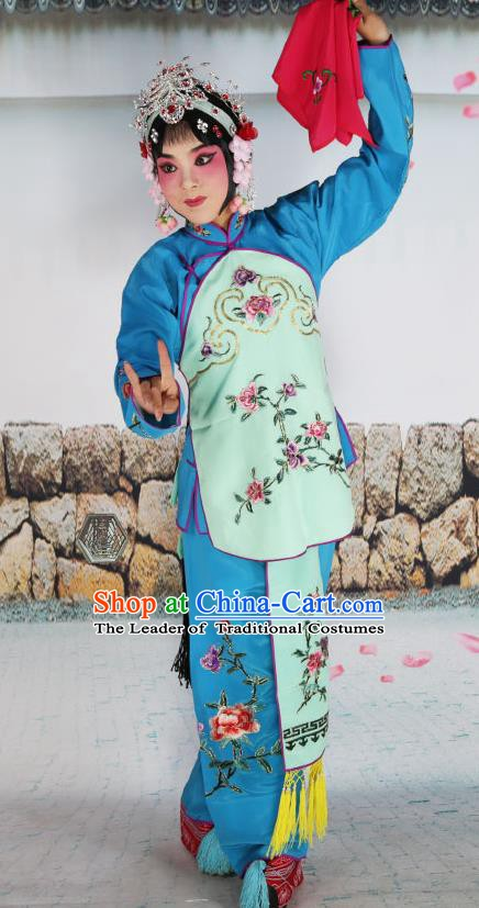 Chinese Beijing Opera Servant Girl Green Embroidered Costume, China Peking Opera Actress Embroidery Clothing