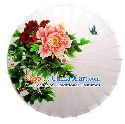 Asian China Dance Handmade Umbrella Stage Performance Umbrella Printing Peony Butterfly Oil-paper Umbrellas