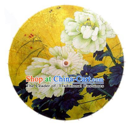 Asian China Dance Handmade Umbrella Stage Performance Umbrella Printing Peony Yellow Oil-paper Umbrellas