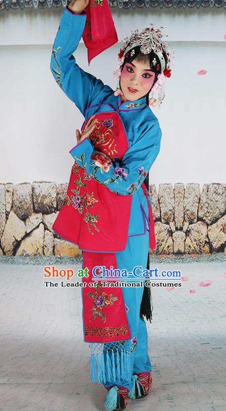 Chinese Beijing Opera Servant Girl Fuchsia Embroidered Costume, China Peking Opera Actress Embroidery Clothing