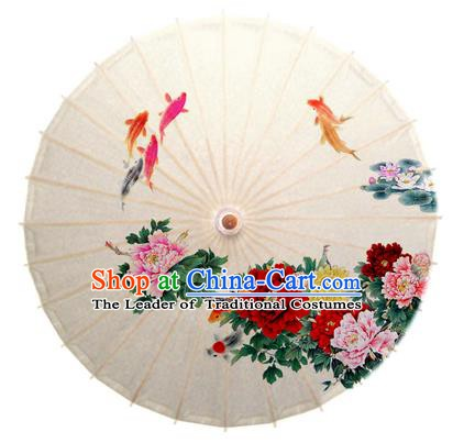 Asian China Dance Handmade Umbrella Stage Performance Umbrella Printing Peony Fishes Oil-paper Umbrellas
