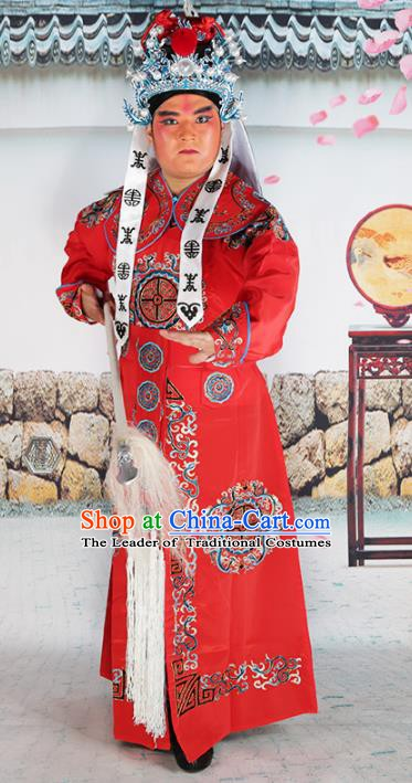 Chinese Beijing Opera Takefu Costume Red Embroidered Robe, China Peking Opera Imperial Bodyguard Embroidery Clothing