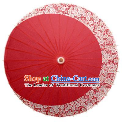 Asian China Dance Umbrella Stage Performance Umbrella Handmade Printing Flowers Red Oil-paper Umbrellas
