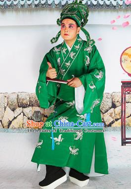 Chinese Beijing Opera Niche Costume Green Embroidered Robe, China Beijing Opera Scholar Embroidery Butterfly Clothing