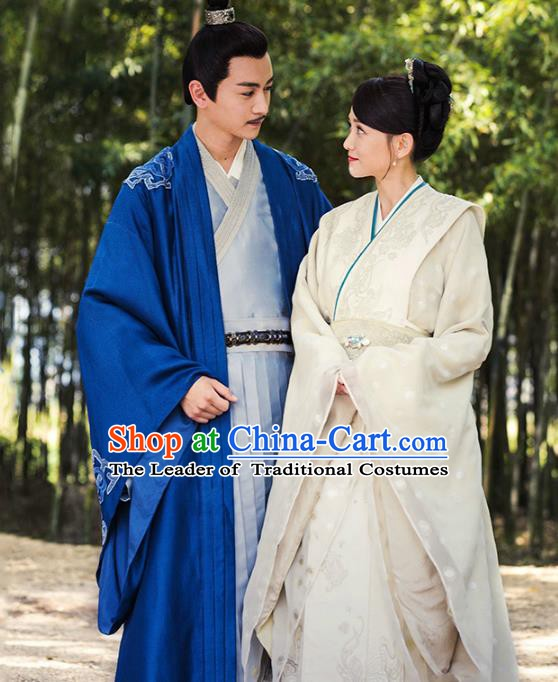 Traditional Chinese Ancient Sui Dynasty Imperial Emperor and Empress Embroidered Costume Complete Set