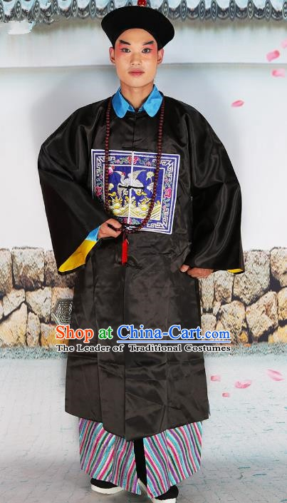 Chinese Beijing Opera Qing Dynasty Minister Costume Embroidered Robe, China Peking Opera Manchu Officer Embroidery Clothing