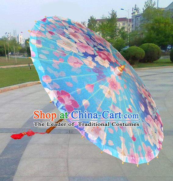 Asian China Dance Handmade Umbrella Stage Performance Umbrella Printing Flowers Blue Oil-paper Umbrellas