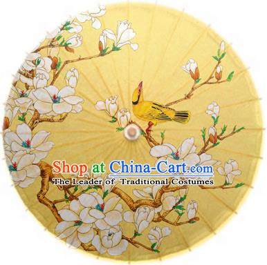 Asian China Dance Handmade Umbrella Stage Performance Umbrella Printing Magnolia Yellow Oil-paper Umbrellas