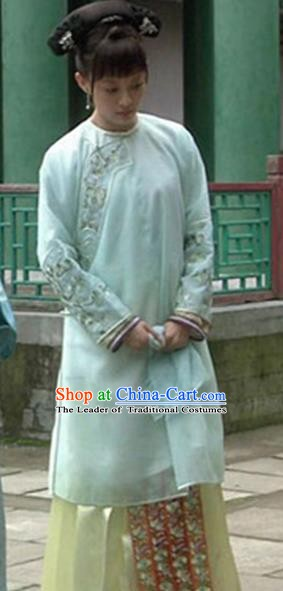 Traditional Chinese Ancient Qing Dynasty Manchu Imperial Consort Embroidered Costume
