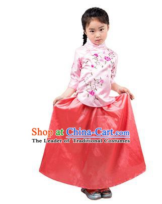 Traditional Chinese Ancient Republic of China Nobility Lady Costume Embroidered Blouse and Skirt for Kids