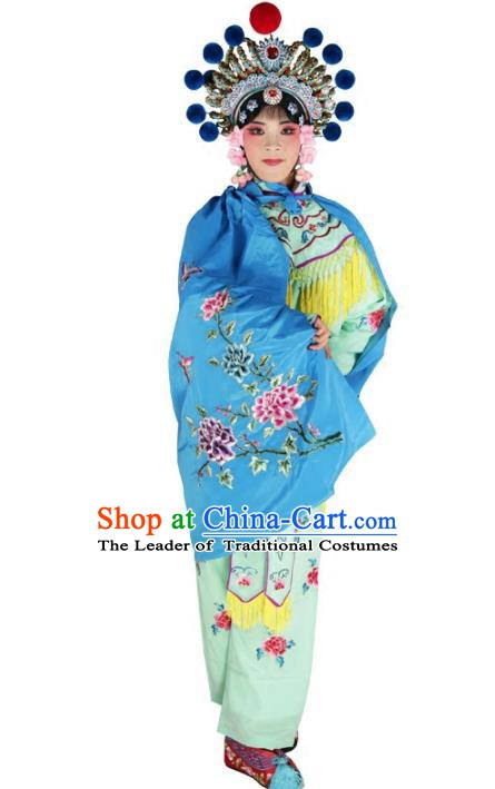 Chinese Beijing Opera Female Soldier Costume Embroidered Blue Short Cloak, China Peking Opera Blues Embroidery Mantle Clothing