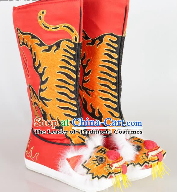 Chinese Beijing Opera Emperor Red Embroidered Boots, China Peking Opera Takefu Embroidery Tiger Shoes