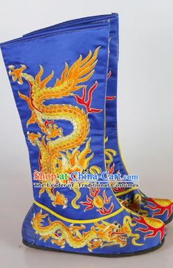 Chinese Beijing Opera Emperor Blue Embroidered Boots, China Peking Opera Takefu General Embroidery Dragons Shoes