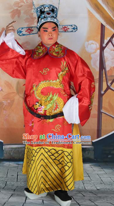 Chinese Beijing Opera Lang Scholar Costume Red Embroidered Robe, China Peking Opera Prince Embroidery Clothing