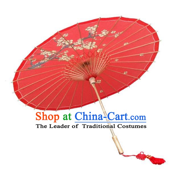 Asian China Dance Handmade Umbrella Stage Performance Props Red Umbrella Painting Plum Blossom Oil-paper Umbrellas