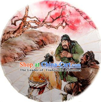 Asian China Dance Handmade Umbrella Stage Performance Props Umbrella Painting Three Chinese Heroes Oil-paper Umbrellas